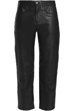 MUUBAA Cropped leather straight-leg pants