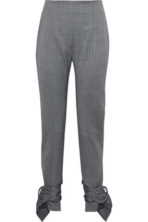 CARMEN MARCH Buckle-detailed herringbone wool tapered pants