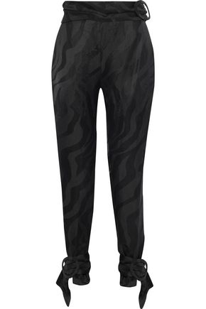 CARMEN MARCH Buckle-detailed linen-blend jacquard tapered pants