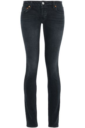 RE/DONE Leather-trimmed mid-rise skinny jeans