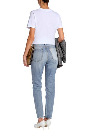 CURRENT/ELLIOTT Distressed high-rise slim-leg jeans