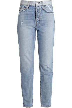 CURRENT/ELLIOTT Distressed faded high-rise straight-leg jeans