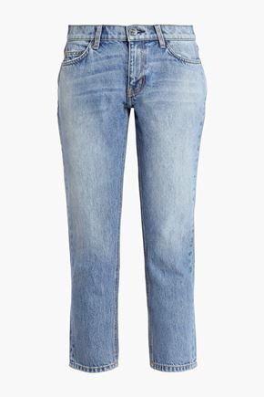 CURRENT/ELLIOTT Cropped faded mid-rise slim-leg jeans