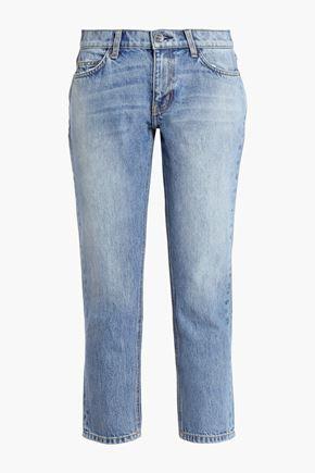 CURRENT/ELLIOTT Cropped faded mid-rise slim-leg jeans