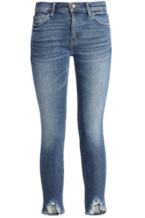 CURRENT/ELLIOTT Cropped distressed mid-rise skinny jeans
