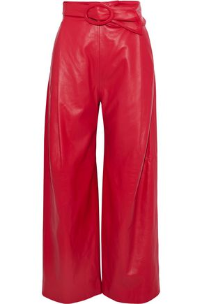CARMEN MARCH Cropped belted leather wide-leg pants