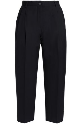 DOLCE & GABBANA Cropped pleated wool-blend tapered pants