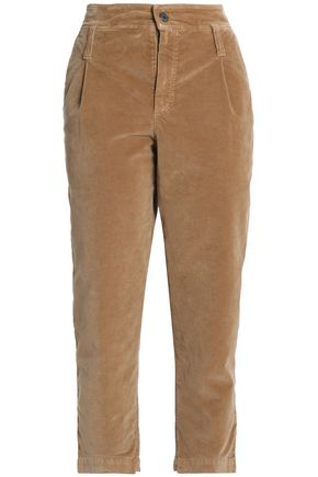BRUNELLO CUCINELLI Cropped cotton-blend velvet straight-leg pants