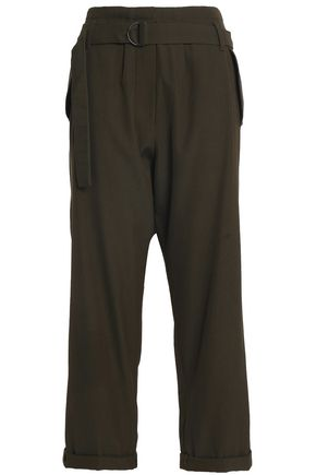 BRUNELLO CUCINELLI Belted wool and cotton-blend twill wide-leg pants