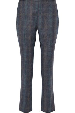 CAROLINA HERRERA Checked wool-twill slim-leg pants