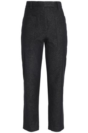 BRUNELLO CUCINELLI Cropped glittered cotton-blend tapered pants