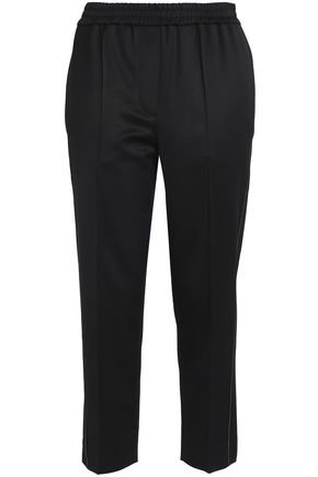 BRUNELLO CUCINELLI Cropped bead-embellished stretch-wool tapered pants