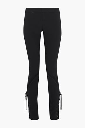 HAUTE HIPPIE Lace-up crepe slim-fit pants