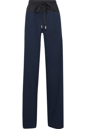 CEDRIC CHARLIER Twill-paneled wool-blend straight-leg pants
