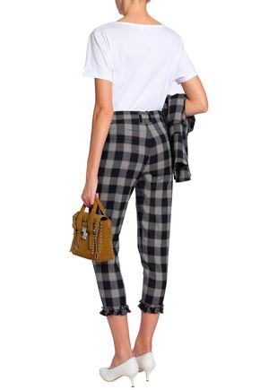 BAUM UND PFERDGARTEN Cropped ruffle-trimmed checked woven tapered pants