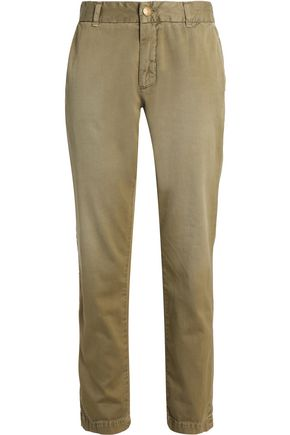 CURRENT/ELLIOTT Cotton-twill straight-leg pants