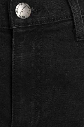 CURRENT/ELLIOTT The Fling cropped frayed high-rise slim-leg jeans