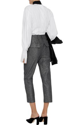 BRUNELLO CUCINELLI Cropped metallic cotton-blend twill straight-leg pants