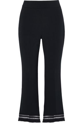 LELA ROSE Embellished crepe flared pants