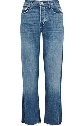 3x1 Von distressed two-tone high-rise straight-leg jeans