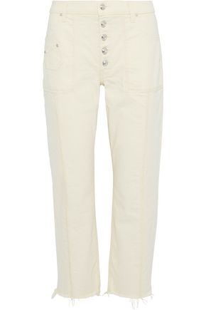 DEREK LAM 10 CROSBY Blake cropped frayed high-rise straight-leg jeans
