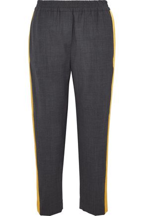 BRUNELLO CUCINELLI Satin-trimmed wool-blend tapered pants