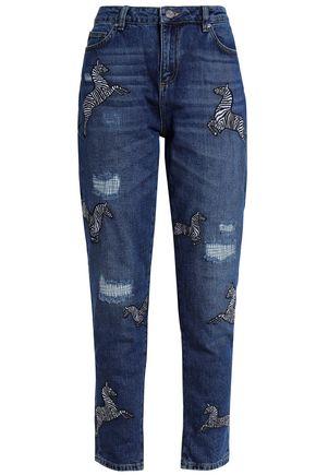 ZOE KARSSEN Appliquéd distressed high-rise straight-leg jeans