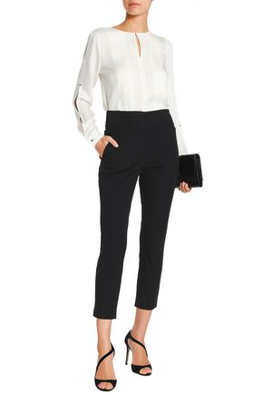 ELIE TAHARI Alanis cropped cotton-blend twill tapered pants