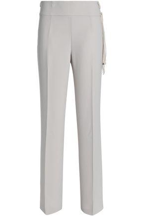 ELIE TAHARI Haidee silk-trimmed crepe straight-leg pants