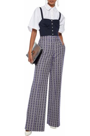DEREK LAM Linen and cotton-blend jacquard wide-leg pants