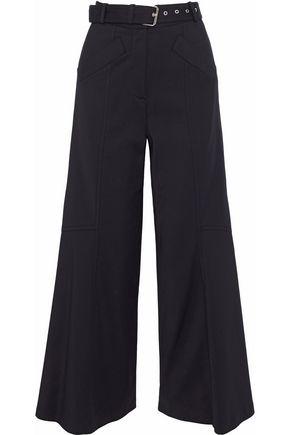 DEREK LAM Cropped belted twill wide-leg pants
