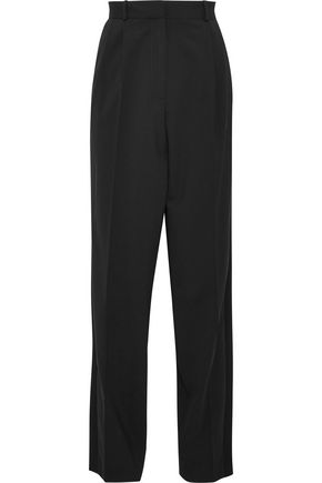 VANESSA BRUNO Satin-trimmed pleated wool-blend straight-leg pants