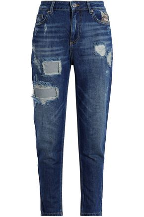 ZOE KARSSEN Embroidered distressed high-rise straight-leg jeans