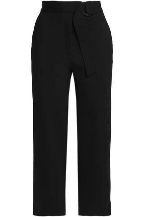 SANDRO Cropped belted jersey straight-leg pants