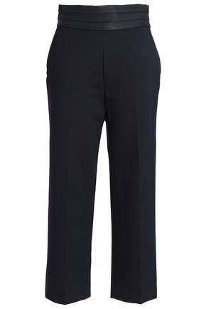 SANDRO Cropped jersey straight-leg pants