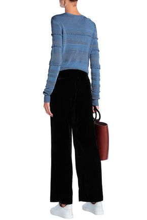 SANDRO Velvet wide-leg pants