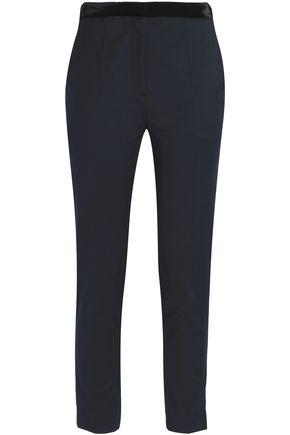 SANDRO Gloria cropped velvet-trimmed twill straight-leg pants