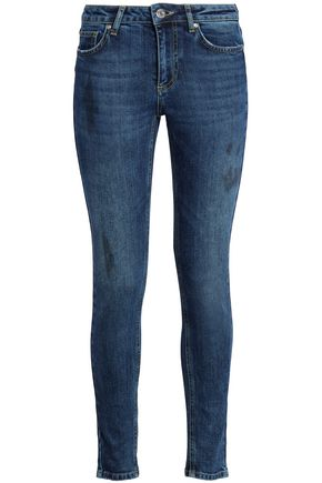 ZOE KARSSEN Embroidered distressed mid-rise skinny jeans