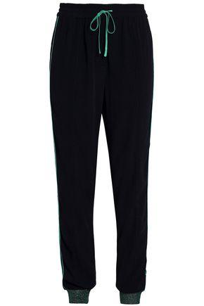 ZOE KARSSEN Satin-trimmed crepe track pants