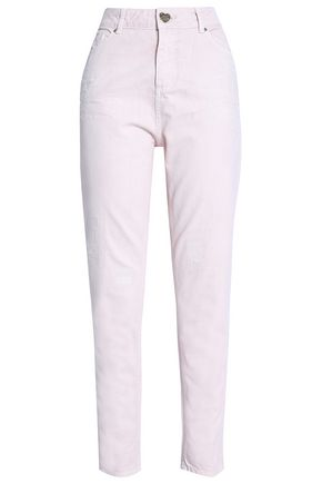 ZOE KARSSEN Distressed high-rise slim-leg jeans