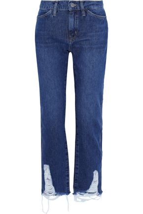 M.I.H JEANS Cult distressed mid-rise straight-leg jeans