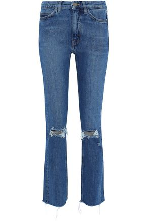 M.I.H JEANS Daily distressed high-rise slim-leg jeans