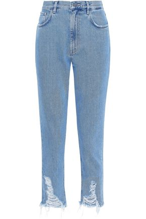 M.I.H JEANS Mimi cropped distressed high-rise tapered jeans