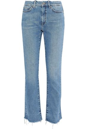 M.I.H JEANS Daily distressed high-rise straight-leg jeans