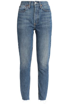 RE/DONE Frayed cropped high-rise slim-leg jeans