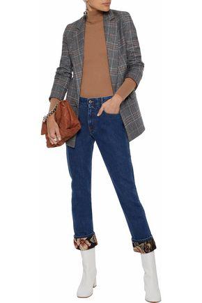 STELLA McCARTNEY Jacquard-trimmed mid-rise slim-leg jeans