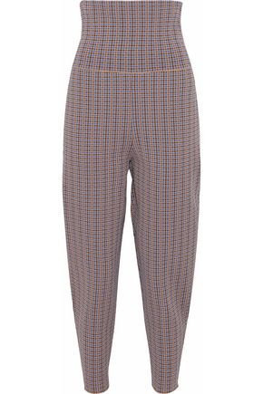 STELLA McCARTNEY Cropped houndstooth jacquard-knit tapered pants
