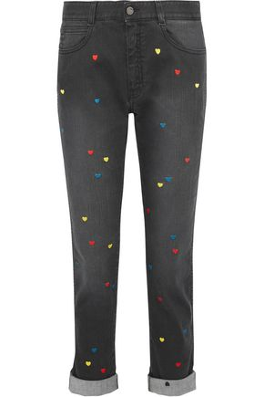 STELLA McCARTNEY The Skinny Boyfriend embroidered mid-rise slim-leg jeans