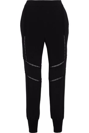 STELLA McCARTNEY Open knit-trimmed crepe track pants