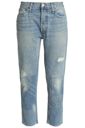 RE/DONE Distressed cropped mid-rise straight-leg jeans